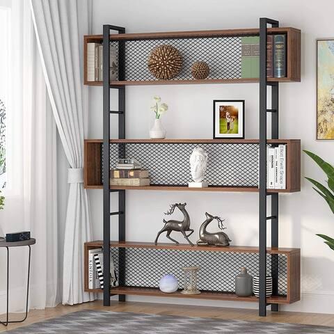 6-Tier Industrial Bookcase, Large Wood and Metal Bookshelf Display Shelf