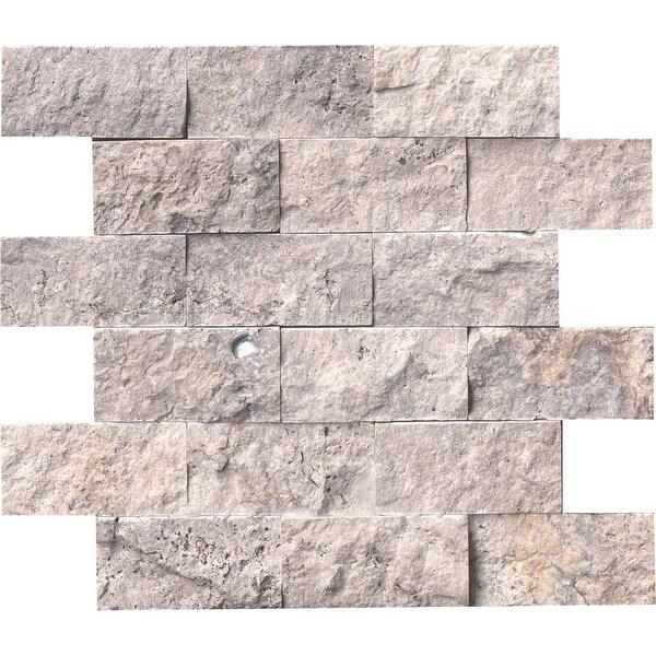 "MSI SMOT-TRA-2X4SF Silver Travertine - 2"" x 4"" Brick Joint Mosaic Tile - Honed Travertine Visual - Sold by Carton (5 SF/Carton)"