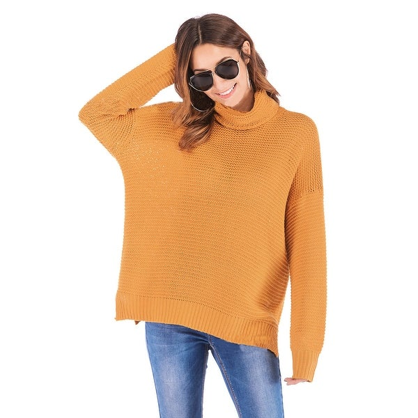 QZUnique Women Roll Neck Sweater Long Sleeve Chunky Knit Pullover