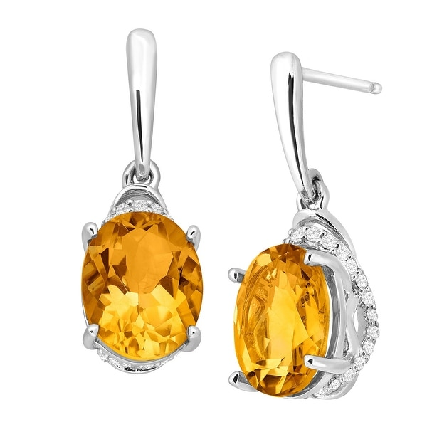 3 1/5 ct Natural Citrine & 1/6 ct Diamond Drop Earrings in Sterling Silver - Yellow