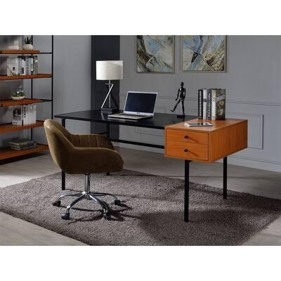 Oaken Writing Desk By AOOLIVE,Honey Oak & Black