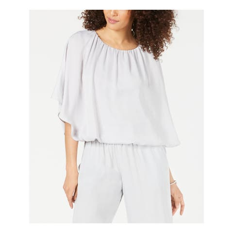 ALFANI Womens Gray Kimono Sleeve Jewel Neck Peasant Top Size XL