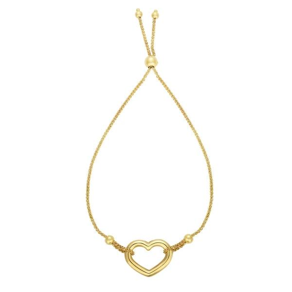 Shop Mcs Jewelry Inc 14 Karat Yellow Gold Adjustable Heart