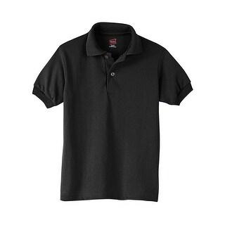 Hanes Kids' Cotton-Blend EcoSmart® Jersey Polo - Size - L - Color - Black