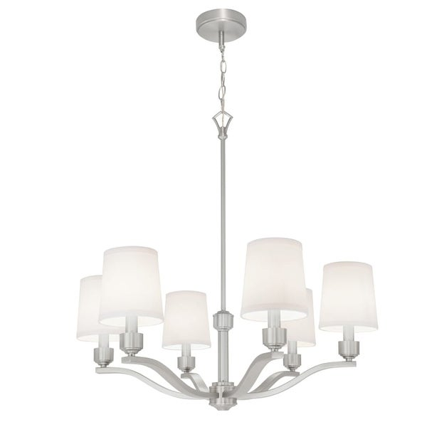 """Norwell Lighting 5616 Roule 6 Light 29"""" Wide Chandelier with White Shade"""
