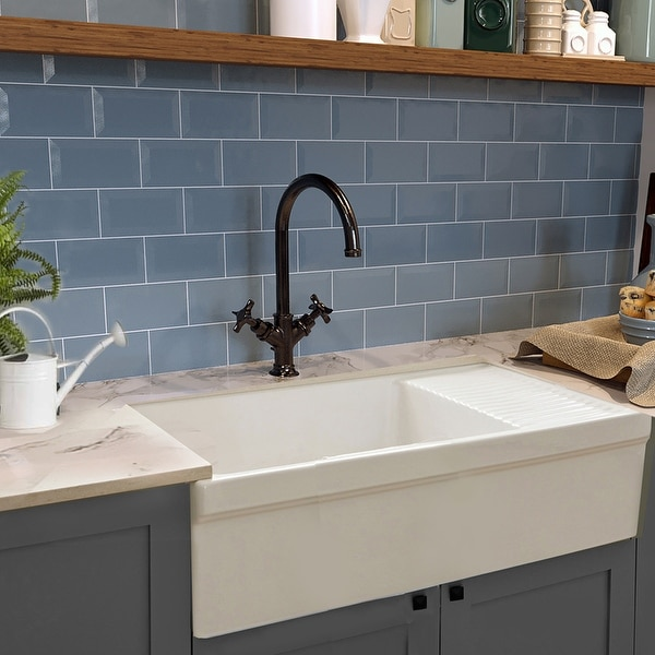 """Highpoint Collection Fireclay Farmsink with Built In Drainboard - 36"""" x 20"""" x 10"""". Opens flyout."""