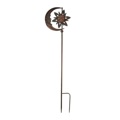 Verdigris Patina Copper Finish Celestial Sun and Moon Wind Spinner Garden Stake - 52 X 13 X 1 inches