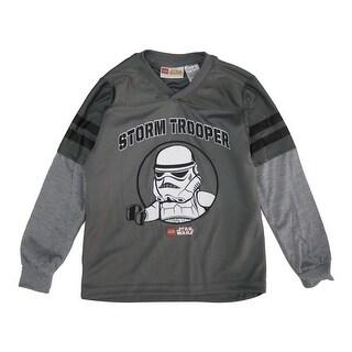 Lego Boys Grey Star Wars Storm Trooper Print Layered Sleeve Shirt 8-16