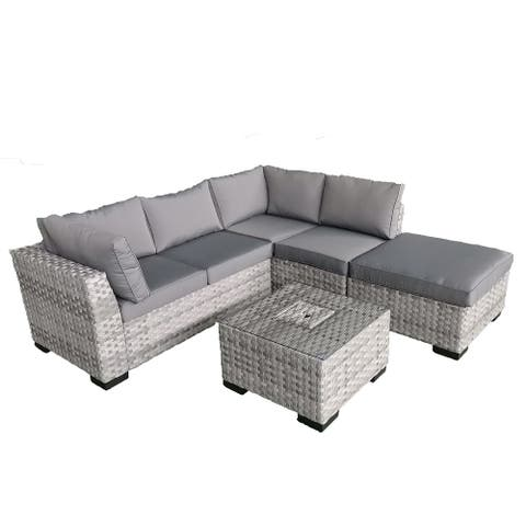 Direct Wicker 4 PCS Outdoor Rattan Patio Sofa Sectional Furniture Set With Weather Resistant Cushions (Grey)