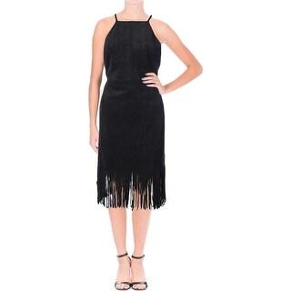 JOA Womens Cocktail Dress Faux Suede Hi-Low Fringe