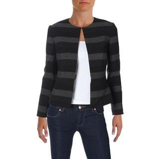 Tahari Womens Petites Blazer Framed Striped