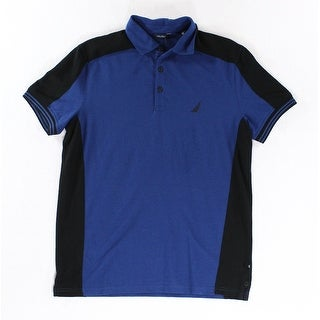 Nautica NEW Cobalt Blue Black Mens Size Small S Ribbed Polo Rugby Shirt