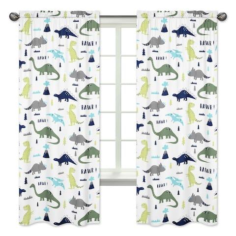 Sweet Jojo Designs Mod Dinosaur Collection Blue/Green Microfiber 84-inch Curtain Panel Pair