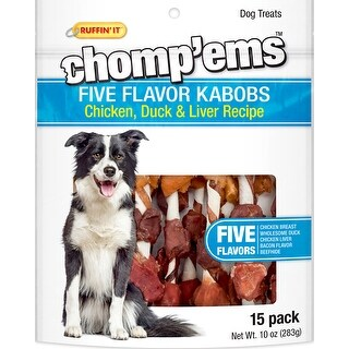 Ruffin' It Chomp'ems Five Flavor Kabobs 15/Pkg 10Oz-Chicken, Duck & Liver