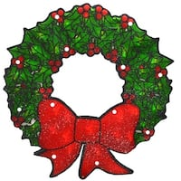 """15"""" Lighted Double-Sided Shimmering Christmas Wreath Window Silhouette"""