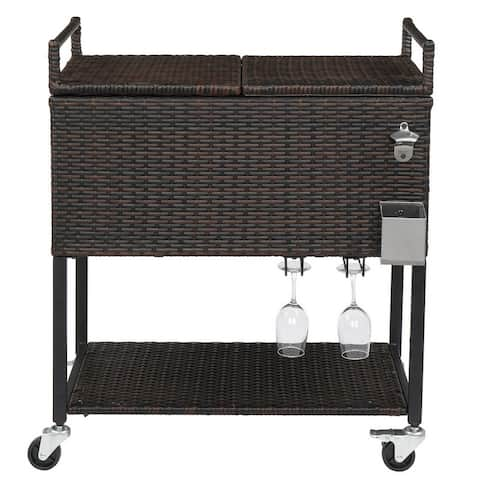 Stainless Steel 80 Qt Rattan Cooler Cart with Wine Rack