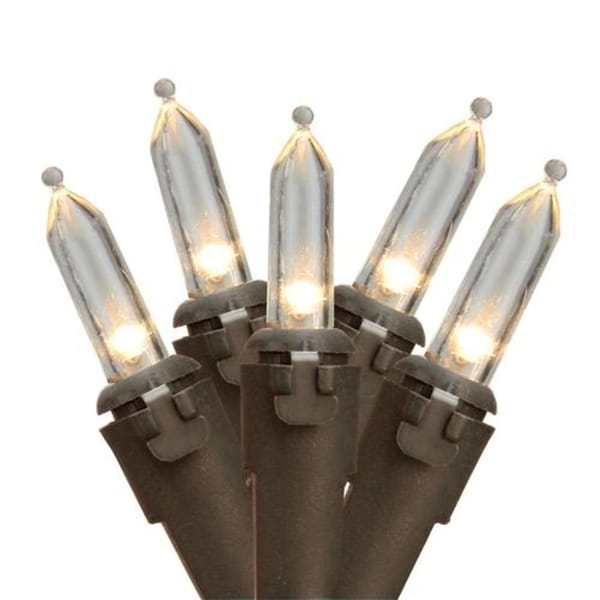 """Set of 10 Clear Mini Christmas Lights 5.25"""" Spacing-Brown Wire"""