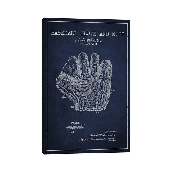 """iCanvas """"Baseball Glove Navy Blue Patent Blueprint"""" by Aged Pixel Canvas Print. Opens flyout."""