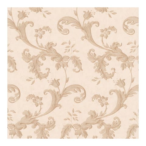 Isleworth Light Brown Floral Scroll Wallpaper - 396in x 20.5in 0.25in