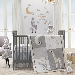 Lambs & Ivy Signature Moonbeams Gray/White Giraffe with Moons & Stars 3-Piece Baby Crib Bedding Set