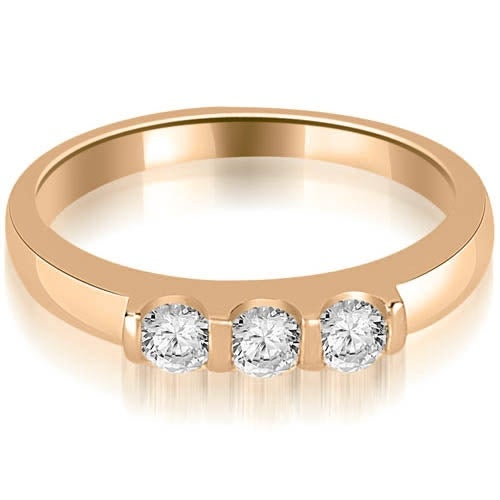 0.45 cttw. 14K Rose Gold Three Stone Diamond Wedding Band
