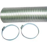 """Deflecto A048Mx/9 Semi-Rigid Flexible Aluminum Duct (4"""" X 8Ft; With 2 Metal Worm Drive Clamps)"""