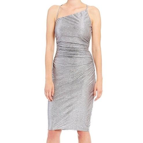Laundry by Shelli Segal NEW Silver Women Size 8 Asymmetric Sheath Dress