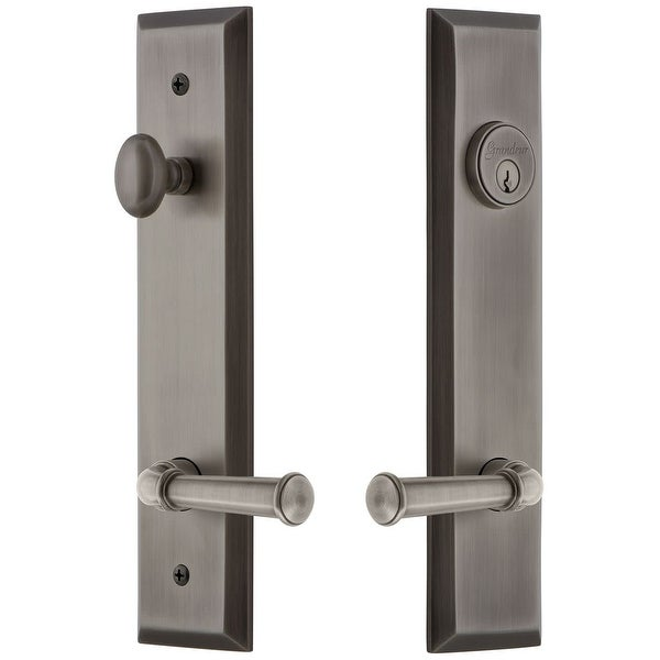 Grandeur FAVGEO_TP_ESET_238_LH Fifth Avenue Solid Brass Tall Plate Single Cylinder Keyed Entry Set with Georgetown Lever and