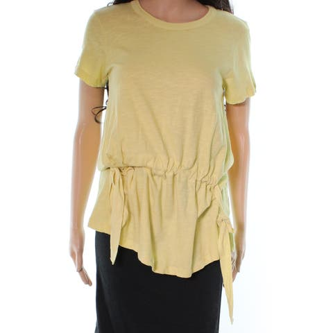 Stateside Women's Top Yellow Size Small S Tie-Waist Crewneck Knit