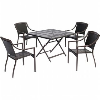 Hanover ORLDN5PCSQ-BRN Orleans 5 Piece Dining Square Woven Set