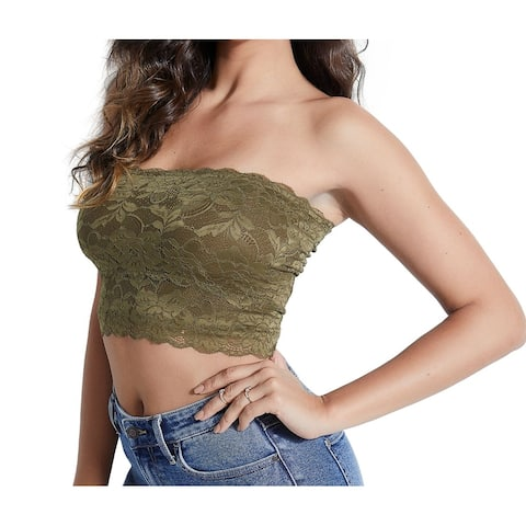 Guess Womens Tube Top Sergeant Green Size XS Nola Floral-Lace Solid