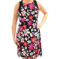 AMERICAN LIVING Womens Navy Floral Sleeveless Jewel Neck Above The Knee Fit + Flare Dress  Size: 8