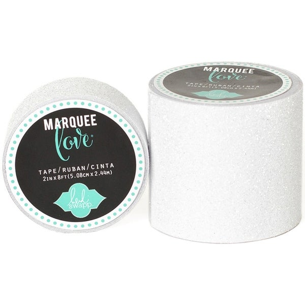 "Heidi Swapp Marquee Love Washi Tape 2""-White Glitter, 8'"