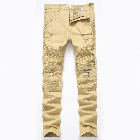 Men Denim Jeans Slim Fit Black Stretch Destroyed Ripped Skinny Jeans