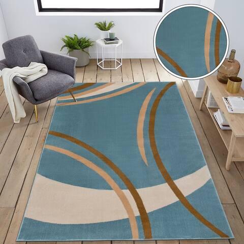 Contemporary Modern Wavy Circles Area Rug