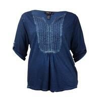 Style & Co Women's Crocheted Peasant Neck & Hem Blouse