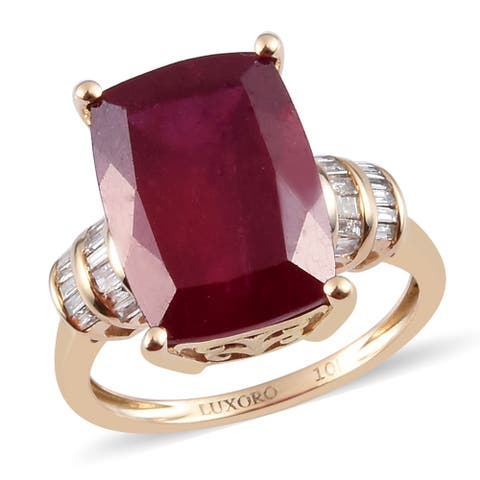 Yellow Gold Cushion AA Ruby Diamond Ring Ct 8.4 G-H Color I3 Clarity