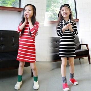 90-140cm Spring autumn children Kids cute clothes girl long sleeve striped