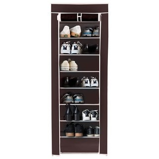 Costway 10 Tier Shoe Tower Rack With Fabric Cover 18 Pair Space Saving Organizer Brown