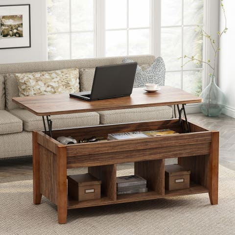 Wooden Lift Top Coffee table whit Hidden Storage Shelf for living room