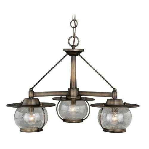 Vaxcel Lighting H0137 Jamestown 3 Light Single Tier Chandelier with Clear Glass Shades - 24 Inches Wide