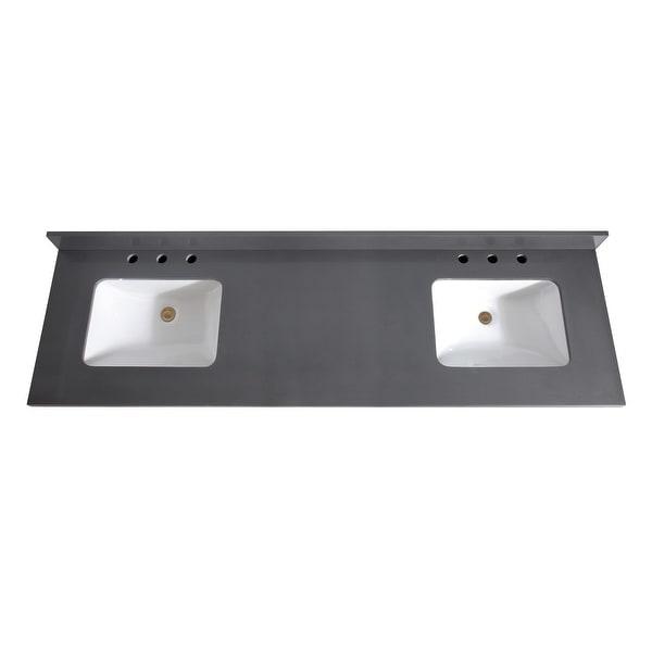 "Avanity VUT73-R 73"" Quartz Vanity Top with Backsplash and Dual Undermount Sinks"
