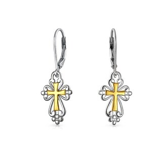 Cross Dangle Leverback Earrings Medieval Religious Filigree Two Tone Gold Plated 925 Silver .75 In