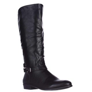 SC35 Faee Wide Calf Mid-Calf Riding Boots, Black