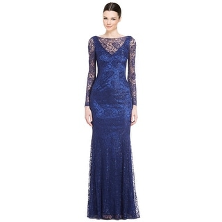 Theia Lace Long Sleeve Evening Gown Dress
