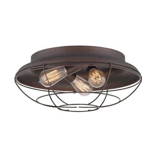 "Millennium Lighting 5387 Neo-Industrial 3 Light 17"" Wide Flush Mount Ceiling Fixture"