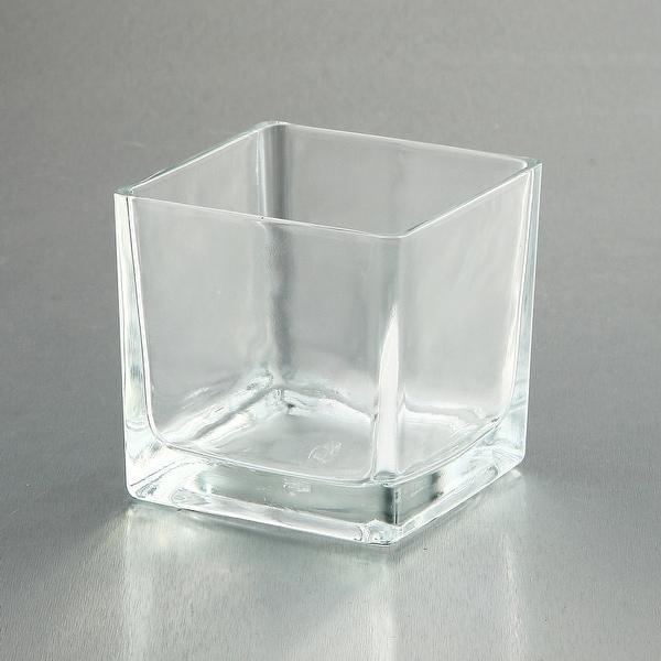 """4"""" Clear Square Handblown Glass Vase - N/A"""