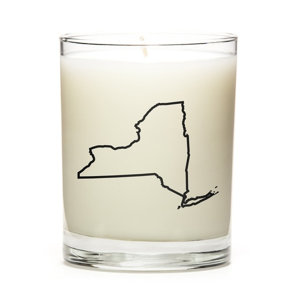 State Outline Soy Wax Candle, New-York State, Peach Belini