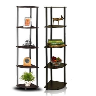 Turn-N-Tube 5-Tier Corner Multipurpose Display Shelves, Espress