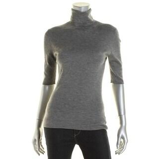 Theory Womens Merino Wool Elbow Sleeves Turtleneck Sweater